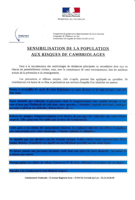 infos gendarmerie